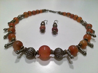 BEAUTIFUL native American silver & carnelian necklace with toning earrings