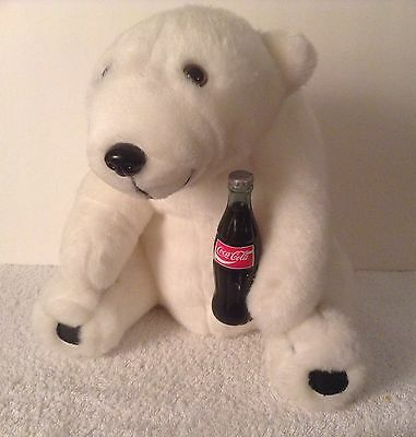 Christmas Coke Coca-Cola Plush Polar Bear With Coke Bottle 1993 Advertising