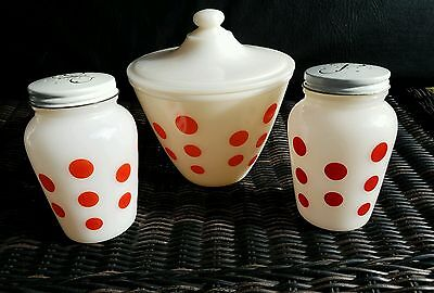 Vintage Anchor Hocking Fire King POLKADOT  Salt & Pepper W/Grease bowl with lid.