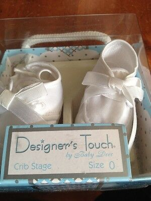 New Infant Boys White Christening Shoes Size 0 (birth - 6 Wks)