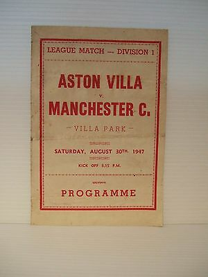 ASTON VILLA v MANCHESTER CITY LGE. MATCH DIVISION 1 - SAT. AUGUST 30th. 1947