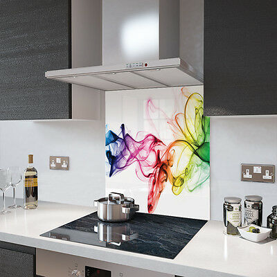 Rainbow Smoke on White Toughened Glass Splashback Resistant to 500°C