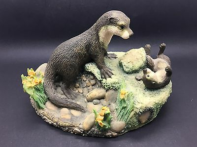 Border Fine Arts figurine of an Otter family WW14 from the Chilton collection