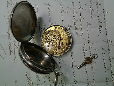 Verge Fusee Full Hunter Silver Pocket Watch Working Comes With Key