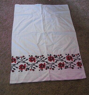 Vintage Cross Stitched Pillowcase - Red & Black Flowers