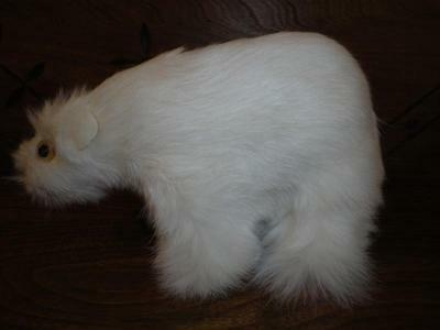 White Real Fur Polar Bear Ornament Leather Eyes