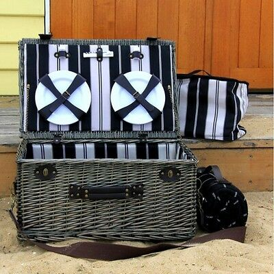 Luxury 6 Person Traditional Hand Made Wicker Picnic Basket Outdoor Activity Set