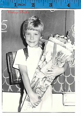 Vintage Photograph boy holds huge school cone   #1239