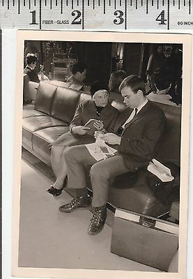 Vintage Photo Woman Grandma talks to son who does not listen   #1115