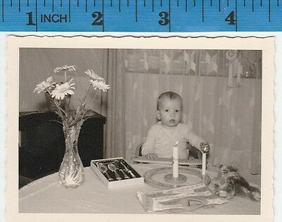 Vintage Photo snapshot Baby kid child reaching to grab candle flame  #291