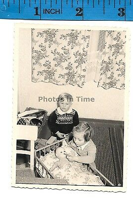 Vintage Photos girls playing with doll  #1478