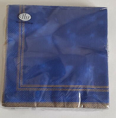 8 packs of Paper Napkins. Lunch 33x33cm. 3ply. Symphony Blue with Gold Trim