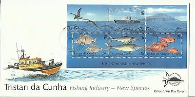 FDC Tristan Da Cunha, Fishing Industry New Species; MS; 2002