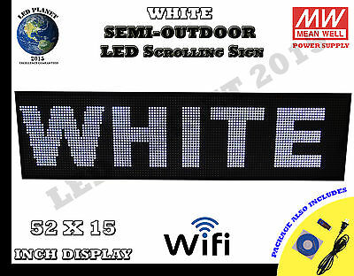 White 52X15 Inch Semi Outdoor LED Scrolling Programmable Sign USB Wifi Mobil App