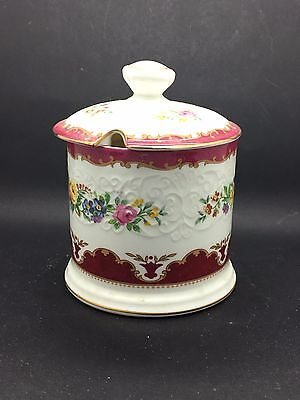 Crown Staffordshire Lyric Red Tunis Jam or Marmalade Pot with lid - A/F