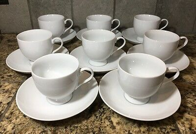 Mikasa Classic Flair White Tea Cups & Saucers 8 Sets Total Excellent Condition