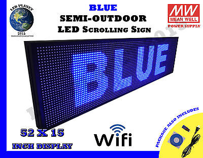 Blue 52X15 Inch Semi Outdoor LED Scrolling Programmable Sign USB Wifi Mobile App
