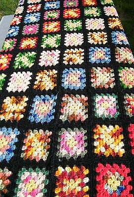 Vtg Handcrafted Crocheted Afghan Multi Color Granny Square Blanket Throw 80 X 50