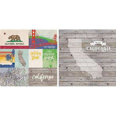 """States Double-Sided Cardstock 12""""X12"""" California 083832224318"""