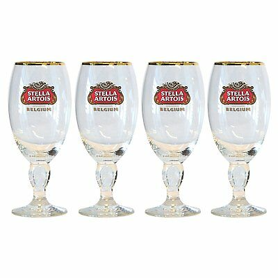 4 Stella Artios Beer Chalices with gold rim (40 cl)