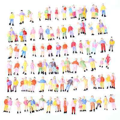 100pcs Mixed Painted Model Trains People Figures HO Scale 1:87 Creative Gift