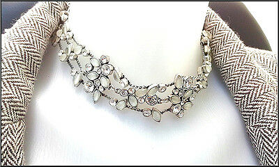 New Pilgrim Collar Necklace Jewelry Swarovski Crystals Ab Silver Delicate Sale !
