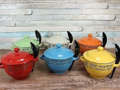 Soup bowl with coloured lid and spoon soup break