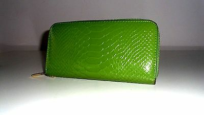 New And Unused Croc Print Zip Around Purse In Pea Green Large Size