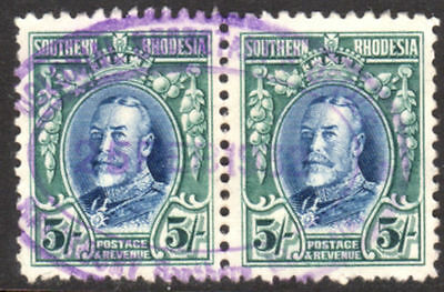 SOUTHERN RHODESIA 1931 Fine Pair of 5/- TOP VALUE with good REVENUE CANCEL!