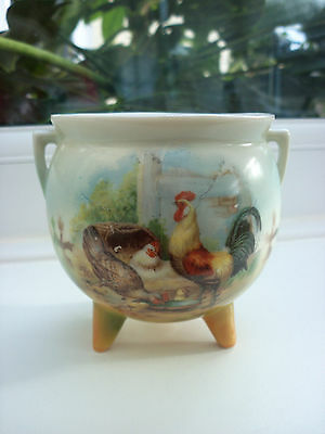 Vintage Three Legged Small Bowl , Farmyard Chickens Painted Scene on the Front