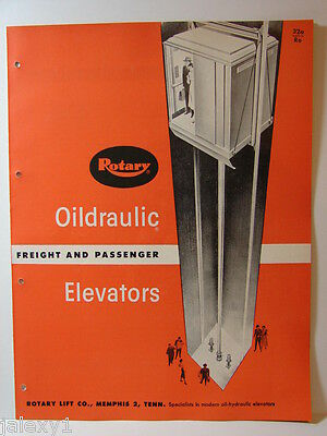 1954 ROTARY LIFT Co Oildraulic ELEVATORS Freight & Passenger Vintage Catalog