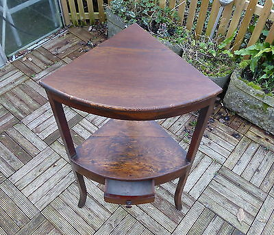 Antique Oak Corner Table With Under Shelf And Small Drawer
