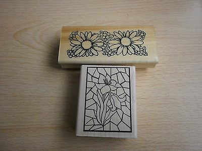 2 Wooden Flower Stamps