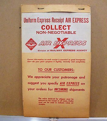 """AIR EXPRESS"" RAILWAY EXPRESS AGENCY  COLLECT RECIEPT form BOOK~TRIPLICATE"