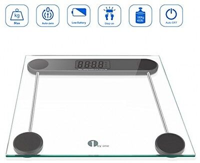 1byone Digital Body Weight Bathroom Scale, 180kg/400lb, Tempered Glass and Step