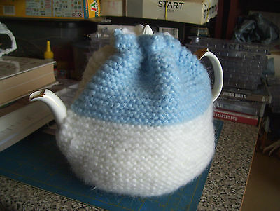 Hand-Knitted Wool...blue And White 6-8 Cup Tea Cosy.#1