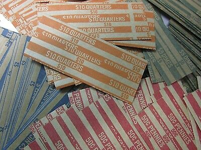 200 Flat Paper Coin Wrappers (50 - Quarters, Dimes, Nickels, Pennies)