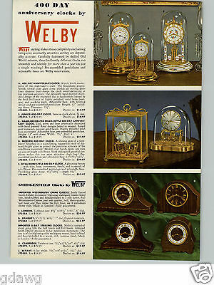 1955 PAPER AD Welby Glass Case Modern 400 Day Clock Smith Enfield Cuckoo Clocks