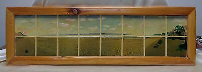 Beautiful Signed Vintage Sandy Beach Mosaic Tile Art in Antique Wooden Frame