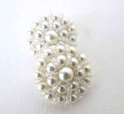 Vintage Button Off White Pearl Seed Beads Bridal Sewing Shank 32mm