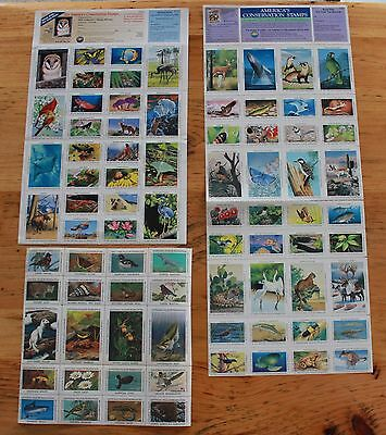 National Wildlife Federation Stamp Sheets Lot 1984, 1990, 1992