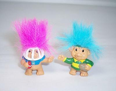 2 x Vintage WEETOS TROLL DOLL PENCIL TOPPERS - Rugby & American Football Players