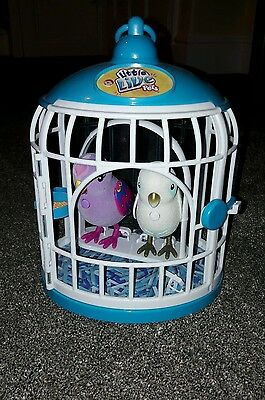 little live pets birds cage and 2 birds