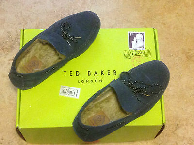 Ted Baker Moccasin Slippers Size 9 Dark Blue