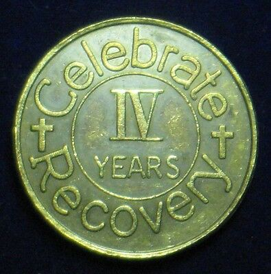 "Recovery Coin [4 Year] To Thine Own Self Be True / Serenity Prayer ~ 1.25"" Di"