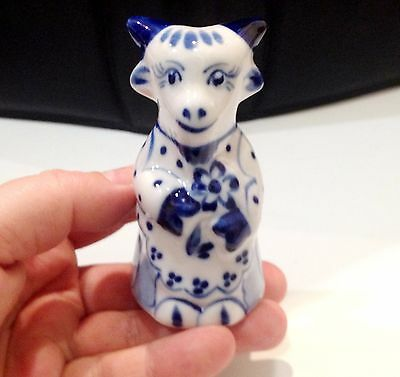 Goat porcelain figurine Souvenirs from Russia Gzhel handmade for a collection
