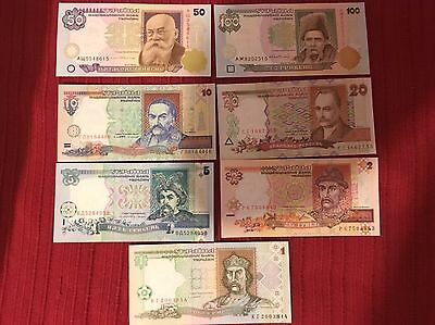 Lote De Billetes Ukraine 1996 UNC 100,50,20,10,5,2,1
