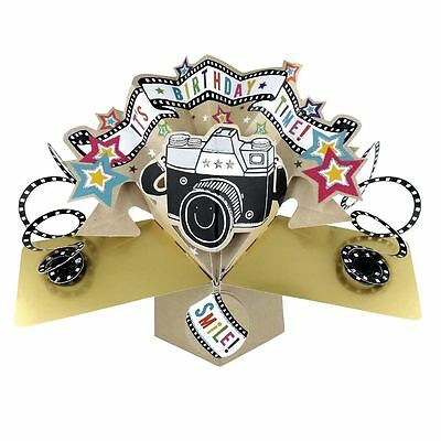 Second Nature Pop Up Birthday Card with Lettering and Camera POP110