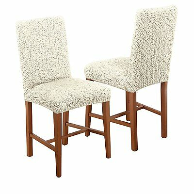 Paulato Textured Stretch Dining Chair Cover Grey New