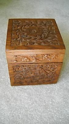 Hand Carved Wooden Square Container Detailed floral  lidded Wood jar box